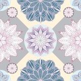 Abstrakcjonistyczna bezszwowa patchwork płytka z kwiecistym ornamentem język arabski lub Zdjęcie Royalty Free