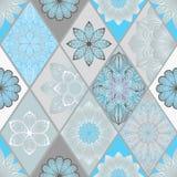 Abstrakcjonistyczna bezszwowa patchwork płytka z kwiecistym ornamentem język arabski lub Fotografia Royalty Free