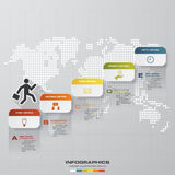 Abstrakcjonistyczna biznesowa mapa 5 kroków diagrama szablon, grafika lub strona internetowa układ/ wektor Zdjęcie Royalty Free