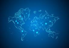 Abstrakcjonistyczna brei linia, punkt i ważymy na ciemnym tle z mapą świat royalty ilustracja