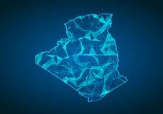 Abstrakcjonistyczna brei linia, punkt i ważymy na ciemnym tle z mapą Fotografia Stock