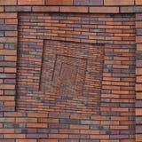 Abstrakcjonistyczna brown czerwieni spirali ściana z cegieł wzoru tła tekstura Brown grunge ściana z cegieł spirali wzoru fractal Obraz Stock