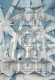 Abstrakcjonistyczna budowa na starym papierze, 3d ilustracja royalty ilustracja