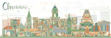 Abstrakcjonistyczna Chennai linia horyzontu z kolorów punktami zwrotnymi ilustracja wektor
