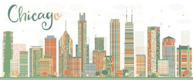 Abstrakcjonistyczna Chicagowska linia horyzontu z kolorów budynkami ilustracji