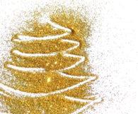 Abstrakcjonistyczna choinka złota błyskotliwość, świąteczny tło Zdjęcia Royalty Free