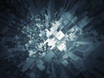 Abstrakcjonistyczna ciemna futurystyczna 3d struktury perspektywa Zdjęcie Stock
