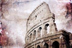 Abstrakcjonistyczna cyfrowa sztuka Colosseum, Rzym stary papier Pocztówka printable na kanwie, wysoka rozdzielczość, Zdjęcie Royalty Free
