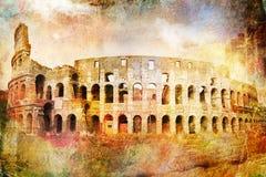 Abstrakcjonistyczna cyfrowa sztuka Colosseum, Rzym stary papier Pocztówka printable na kanwie, wysoka rozdzielczość, Fotografia Royalty Free