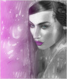 Abstrakcjonistyczna cyfrowa sztuka Indiańska lub Azjatycka kobiety twarz, zamyka up z kolorową przesłoną Obrazy Stock
