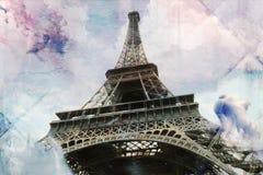 Abstrakcjonistyczna cyfrowa sztuka wieża eifla w Paryż, dachówkowy tekstury błękit Pocztówka printable na kanwie, wysoka rozdziel Zdjęcia Stock