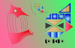 Abstrakcjonistyczna cyfrowa sztuka z abstrakcjonistycznymi kształtami Obrazy Stock