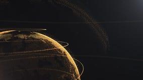abstrakcjonistyczna cząsteczka r Złota, pomarańczowa planeta wśrodku bielu, veilted jeden, tworzy kropki Sumaryczny czarny dackdr ilustracji