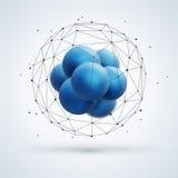 Abstrakcjonistyczna cząsteczkowa struktura z błękitnymi cząsteczkami Zdjęcie Royalty Free