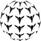 Abstrakcjonistyczna Czarna piłka aniołowie Wektorowi royalty ilustracja
