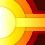 Abstrakcjonistyczna czerwień, pomarańcze i żółci papierowi round kształty, Obrazy Stock