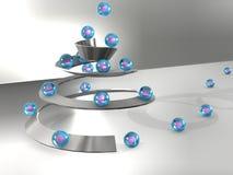 abstrakcjonistyczna 3d ilustracja, spirala z piłkami Obrazy Royalty Free