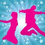 abstrakcjonistyczna dancingowa dziewczyny bieg sylwetka Royalty Ilustracja
