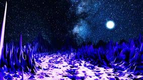 Abstrakcjonistyczna dolina w neonowym świetle animacja Komputer przestrzeń z doliną ostrzy głazy iluminujący jaskrawym światłem royalty ilustracja
