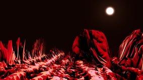 Abstrakcjonistyczna dolina w neonowym świetle animacja Komputer przestrzeń z doliną ostrzy głazy iluminujący jaskrawym światłem ilustracji