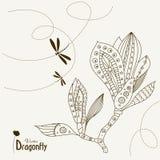 abstrakcjonistyczna dragonfly kwiatu magnolia Obraz Stock