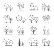 Abstrakcjonistyczna drzewna ikona ustawiająca na białym tle Obrazy Stock
