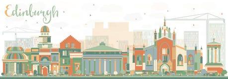 Abstrakcjonistyczna Edynburg linia horyzontu z kolorów budynkami royalty ilustracja