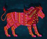 Abstrakcjonistyczna etniczna ilustracja z czerwonym lwem na zmroku - błękitny kwiecisty tło Zdjęcia Stock