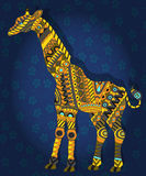 Abstrakcjonistyczna etniczna ilustracja z z obrazkiem żyrafa na zmroku - błękitny kwiecisty tło Obraz Royalty Free