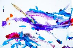 Abstrakcjonistyczna farba i paintbrush Zdjęcie Royalty Free