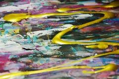 Abstrakcjonistyczna farby akwarela błyska kolorowego tło, szczotkarscy uderzenia, organicznie hipnotyczny tło Obrazy Stock