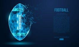 Abstrakcjonistyczna futbol amerykański piłka od cząsteczek, linii i trójboków na błękitnym tle, Cyber technologii rugby wektor ilustracji