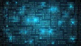 Abstrakcjonistyczna futurystyczna cyberprzestrzeń z binarnym kodem royalty ilustracja