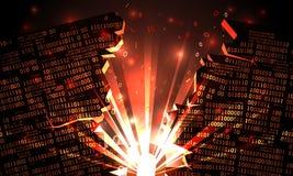 Abstrakcjonistyczna futurystyczna cyberprzestrzeń z siekającym binarnym dane, wybuch z promieniami światło, dmuchający binarny ko ilustracja wektor