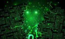 Abstrakcjonistyczna futurystyczna cyberprzestrzeń z siekającym szykiem binarni dane, łamający spada binarny kod, matrycowy tło z  Zdjęcia Stock