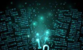 Abstrakcjonistyczna futurystyczna cyberprzestrzeń z siekającym szykiem binarni dane, łamający spada binarny kod, matrycowy tło, d ilustracja wektor