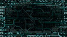 Abstrakcjonistyczna futurystyczna elektronicznego obwodu deska z binarnym kodem, komputerowy technologii cyfrowej tło, rama ilustracja wektor