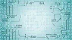 Abstrakcjonistyczna futurystyczna elektronicznego obwodu deska z binarnym kodem, komputerowy technologii cyfrowej tło, rama, dobr ilustracja wektor