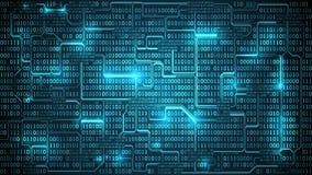 Abstrakcjonistyczna futurystyczna elektronicznego obwodu deska z binarnym kodem, matrycowy tło z cyframi, dobrze organizować wars royalty ilustracja