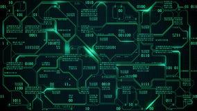 Abstrakcjonistyczna futurystyczna elektronicznego obwodu deska z binarnym kodem, neural sieć i duzi dane, matrycowy tło z cyframi ilustracji