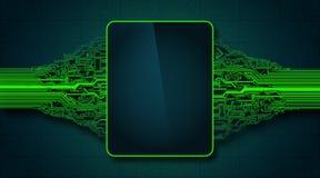 Abstrakcjonistyczna futurystyczna obwód deska z elektronicznym pokazem, techniki technologii cyfrowej komputerowy pojęcie Fotografia Royalty Free