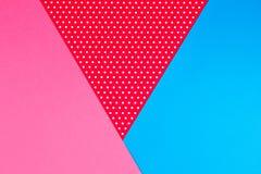 Abstrakcjonistyczna geometryczna błękita, menchii i czerwieni polki kropka, tapetuje tło Zdjęcie Stock