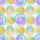 Abstrakcjonistyczna geometryczna bezszwowa patternscribble okrąg tekstura Ręka rysująca wektorowa ilustracja ilustracji