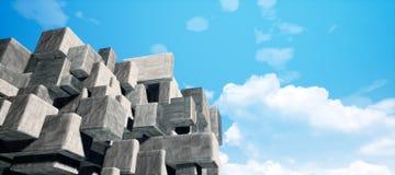 Abstrakcjonistyczna geometryczna cementowa, beton sześcianów wewnętrznej ściany tekstury tła 3D CG renderingu O dużej zdolności i ilustracja wektor