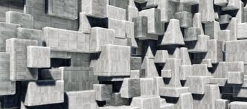 Abstrakcjonistyczna geometryczna cementowa, beton sze?cian?w wewn?trznej ?ciany tekstury t?a 3D CG renderingu O du?ej zdolno?ci i ilustracja wektor