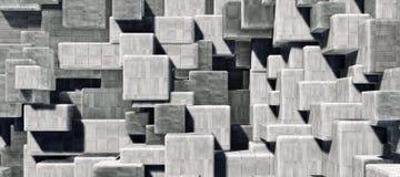 Abstrakcjonistyczna geometryczna cementowa, beton sze?cian?w wewn?trznej ?ciany tekstury t?a 3D CG renderingu O du?ej zdolno?ci i royalty ilustracja