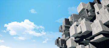 Abstrakcjonistyczna geometryczna cementowa, beton sze?cian?w wewn?trznej ?ciany tekstury t?a 3D CG renderingu O du?ej zdolno?ci i ilustracji