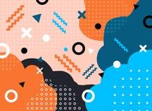Abstrakcjonistyczna geometryczna forma z linią i kropka wzór modny Memphis projektujemy na kolorowym tle royalty ilustracja