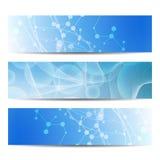 Abstrakcjonistyczna geometryczna sztandar molekuła, komunikacja i Nauka i technika projekt, struktury DNA, chemia, medyczna