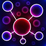 abstrakcjonistyczna graficzna ilustracyjna molekuła trzy Stylizowany atom naukowe badania abstrakcyjny tło niebieski obraz nieba  Zdjęcie Royalty Free